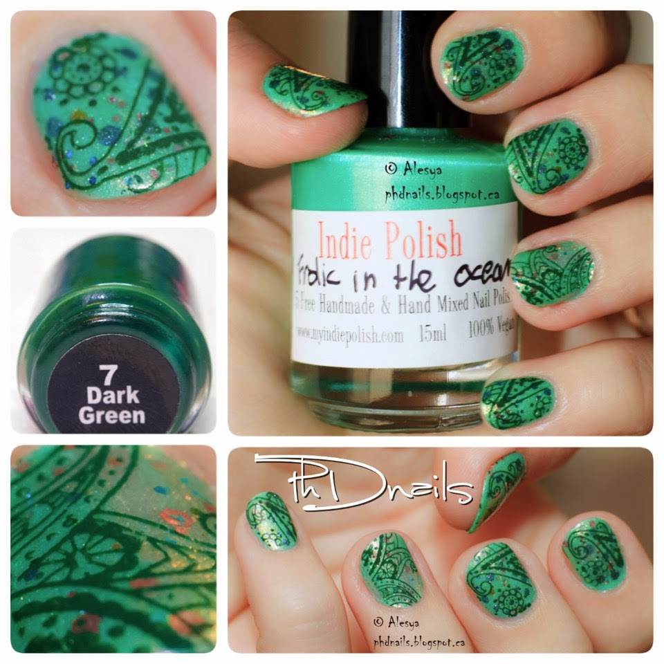 PhD nails: 30 Days of Colour: Mundo de Unas dark green floral ...