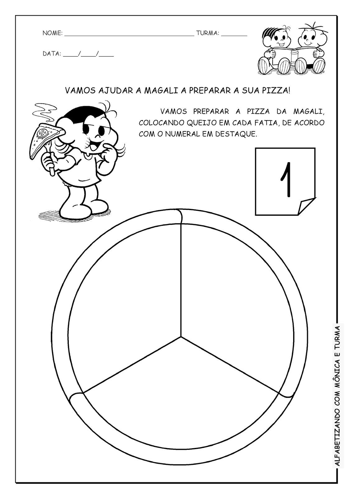 alfabetizando com mônica e turma pizza da magali atividade de
