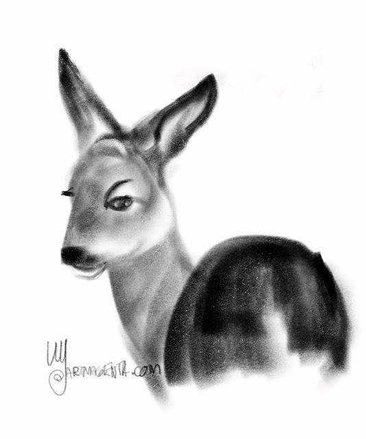 Deer drawing by Artmagenta