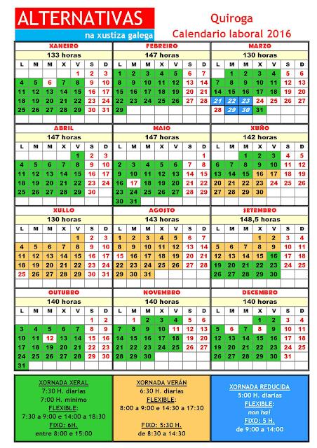 Quiroga. Calendario laboral 2016