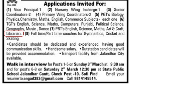 LIBRARY JOBS: Librarian Vacancy at Group of State Public Schools ...