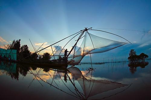 Hình ảnh đẹp về làng quê Việt Nam, cất vó