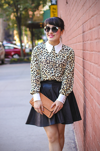 Zara leopard print blouse with Peter Pan Collar and Topshop leather skirt