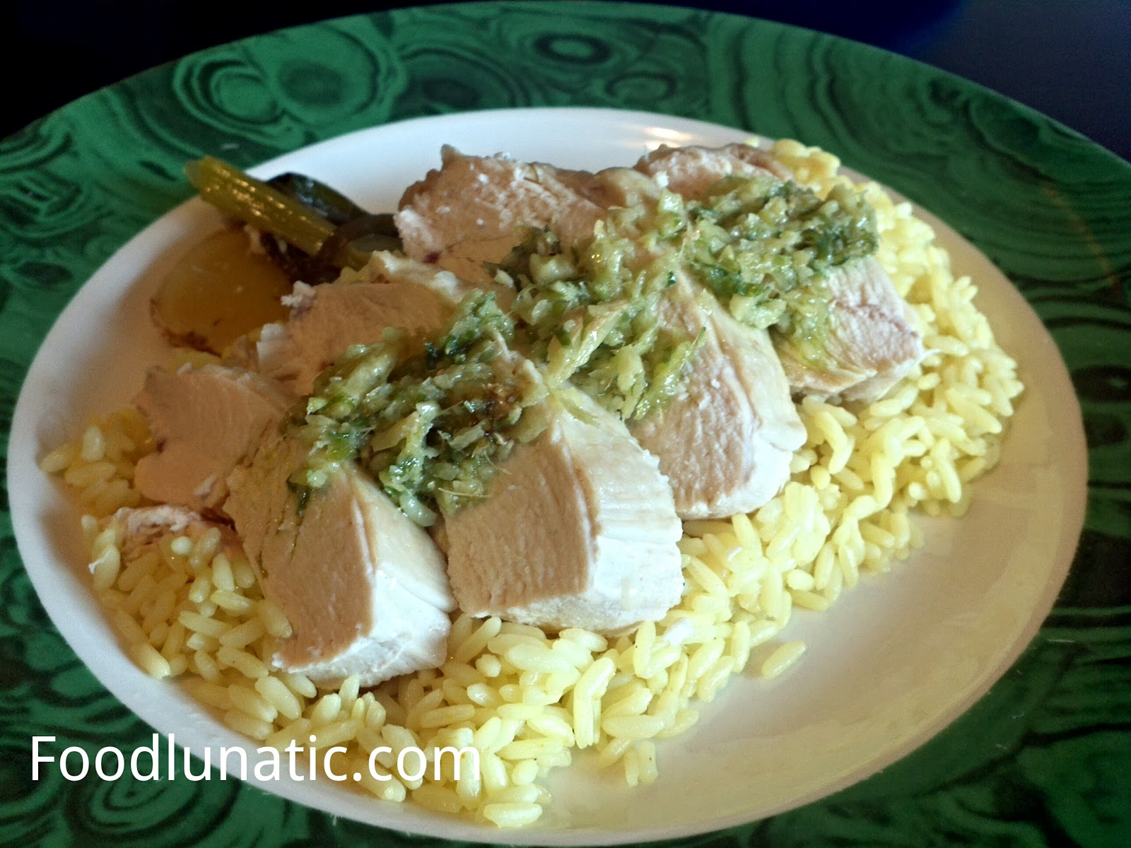 Food Lunatic: Ginger and Scallions Steamed Chicken with Golden Rice