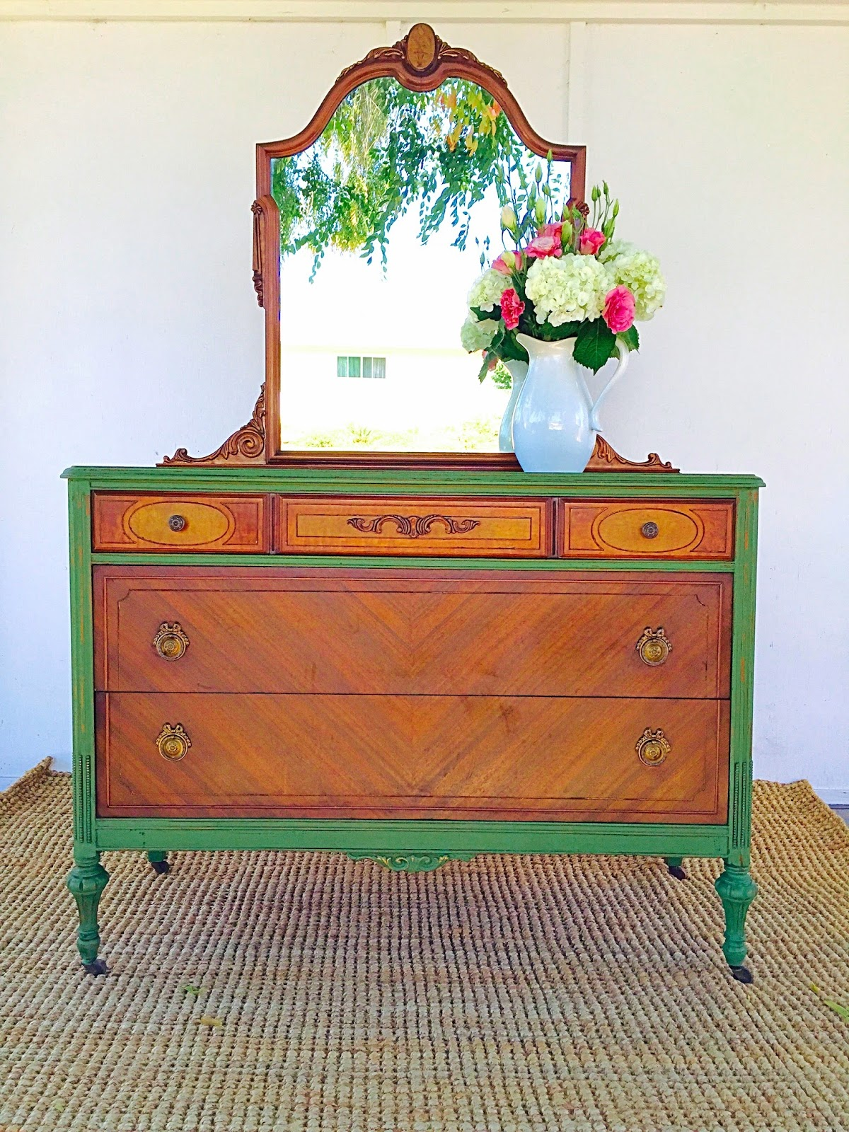 D d 39 s cottage and design vibrant green milk paint dresser for Painting designs on wood furniture