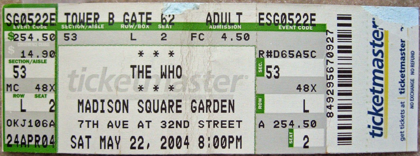 Tommy Mondello's ticket stub from that very show above... awesome!