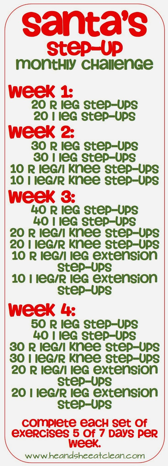 Santa's Step-Up Monthly Challenge ~ He and She Eat Clean