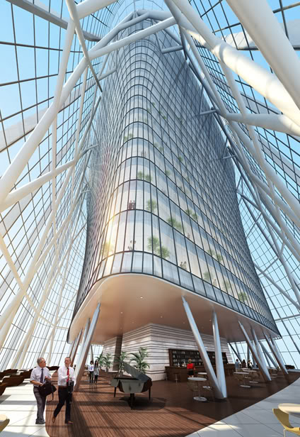 Rendering of top floors interiors at the China Zun (CITIC Plaza) by TFP Farrells, Beijing, China