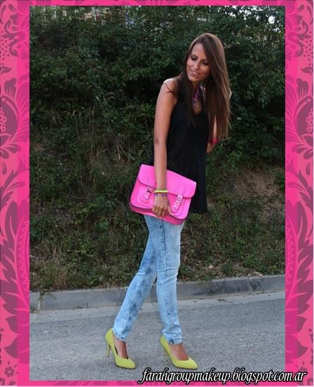 carteras, clutch, satchel bag fuchsia neon
