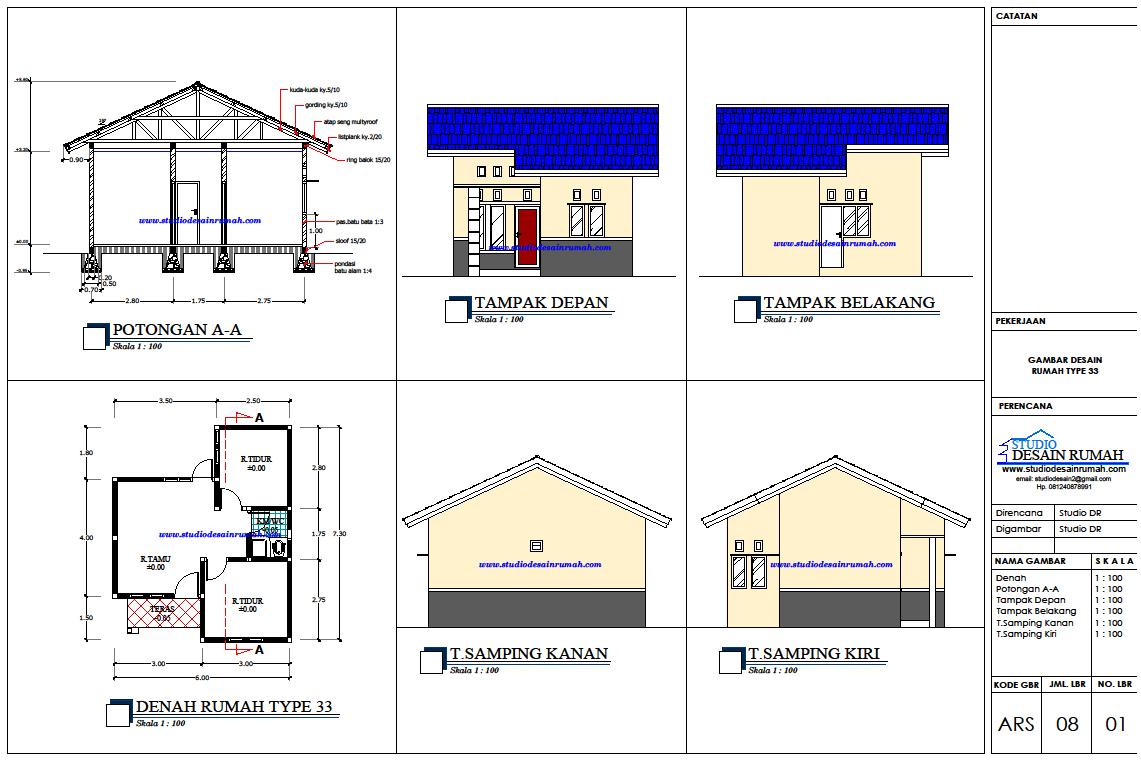 Denah Rumah Lengkap Dengan T&ak Depan denah rumah type 36 lengkap dengan potongan - denah rumah