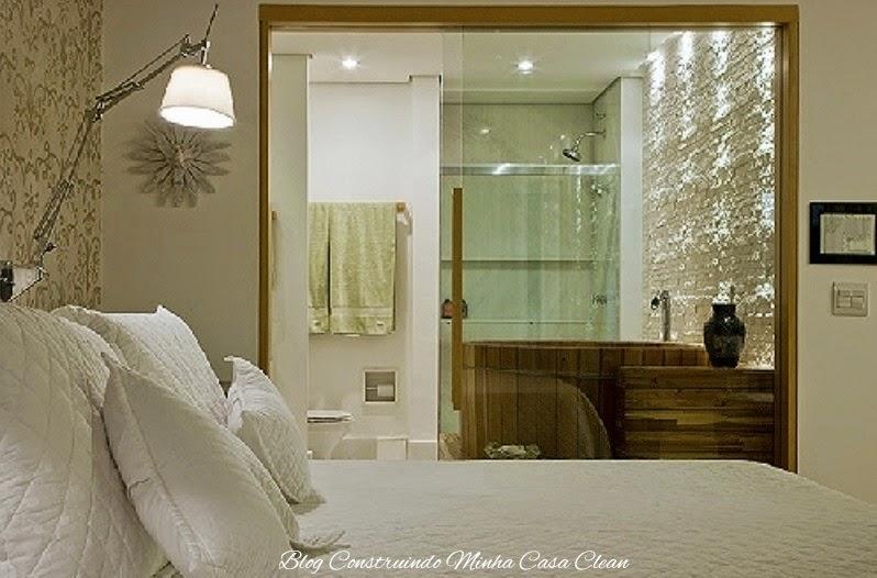 Construindo Minha Casa Clean Quartos Integrados com Banheiros de Vidros! -> Quarto Com Banheiro Pequeno Integrado