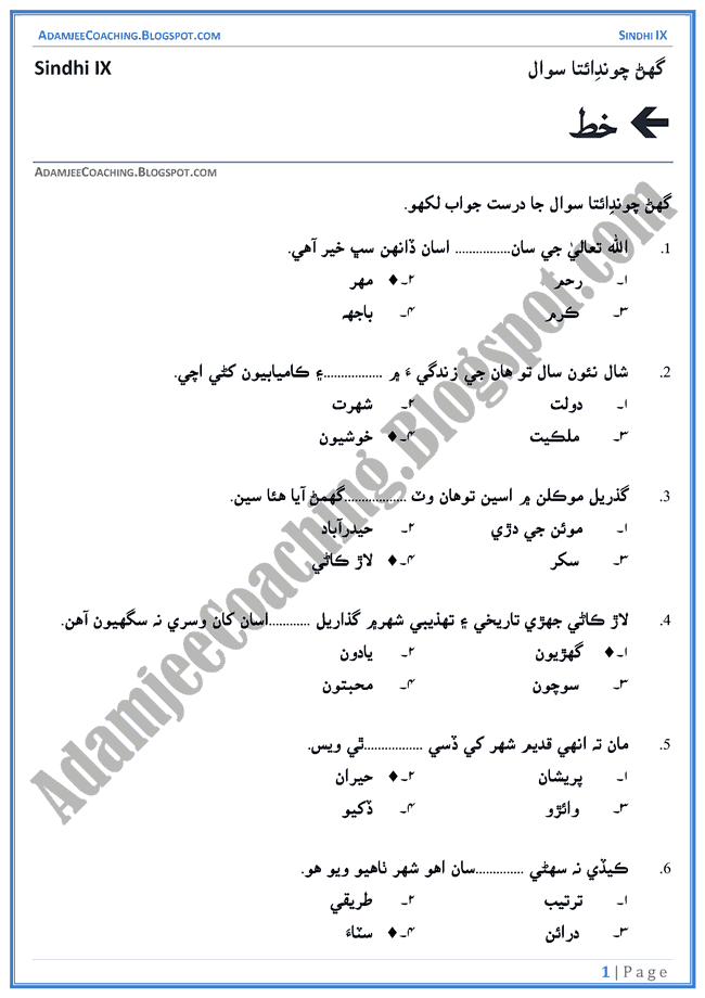khat-multiple-choice-questions-sindhi-notes-for-class-9th
