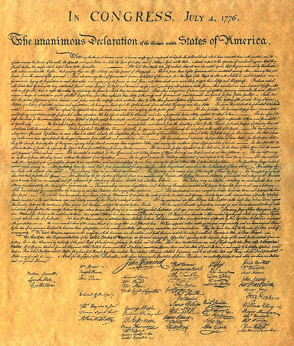 Monster image inside printable declaration of independence text