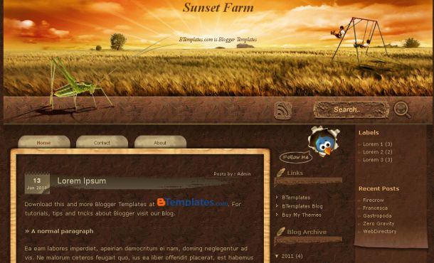 Chocolate Brown Wood Farm Blogger Template