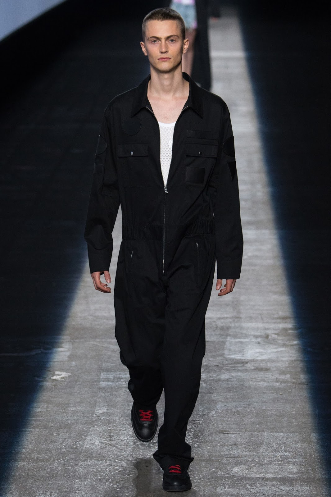 NYFW new york fashion week, black boiler suit streetwear menswear