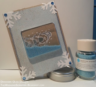 Handmade shaker card with microbead filling; Basic Grey Snowfall Ice Blue paper and kraft background