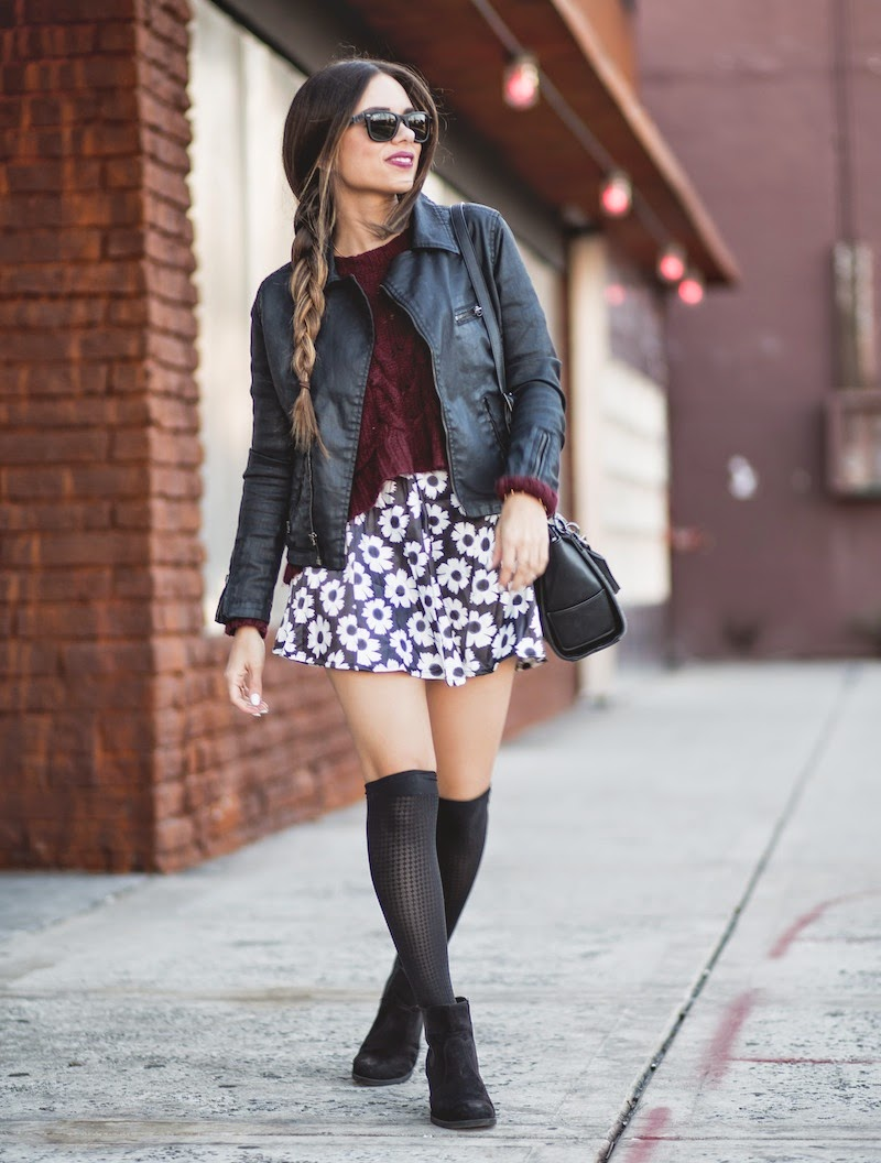 knee socks, 2020ave, burgundy sweater, hm, ankle booties, romwe, floral skirt, danielle nicole, alexa mini tote, ag jeans, fashion, outfit, wolford, rayban, leather jacket, fall fashion