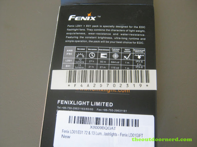 Fenix LD01 AAA Flashlight, back of gift set packaging