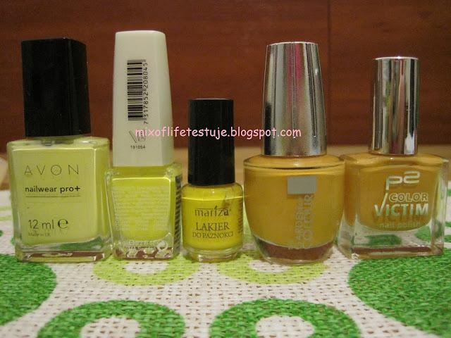 AVON nailwear pro+ lemon sugar,IsaDora Graffiti 804 YELLOW CREW,Mariza 40, Silcare The Garden of Colour 30, p2 730 hug me!