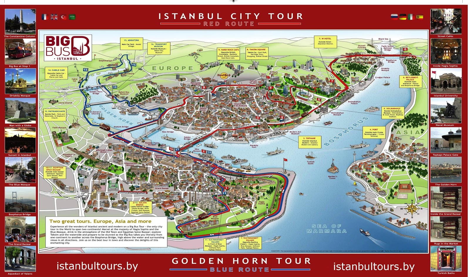 Istanbul Big Bus Tours Hopon Hopoff Sightseeing Tours – Istanbul Tourist Map