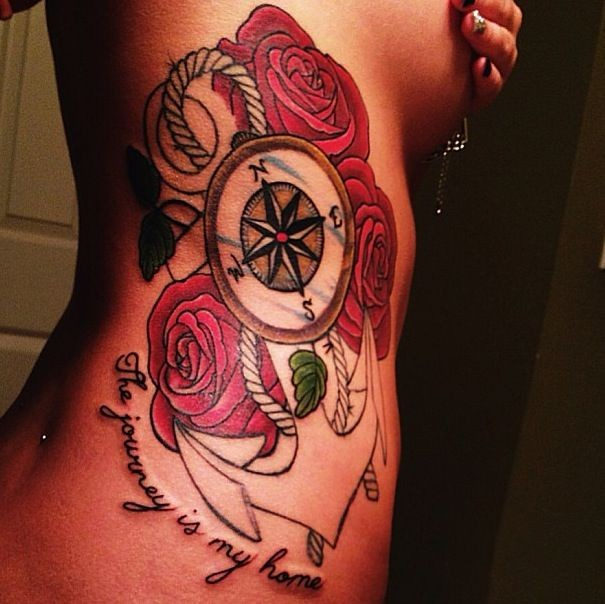 Great beautiful anchor with roses tattoo on ribs