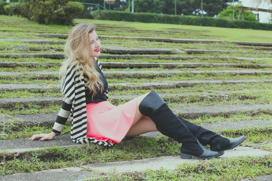 Look-Bota over the knee com saia | Click do Momento Fotografia