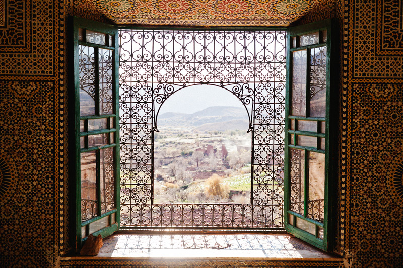 The view from within the Telouet Kasbah in the high Atlas Mountains
