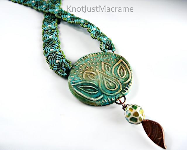 Macrame necklace with art beads.