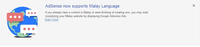 Google Adsense Kini Dalam Bahasa Melayu