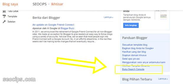 Pilih Blog kamu dan Buka search console