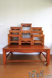 โต๊ะหมู่บูชา ไม้มะค่า หมู่9 พร้อมฐานโต๊ะ by maitae.com