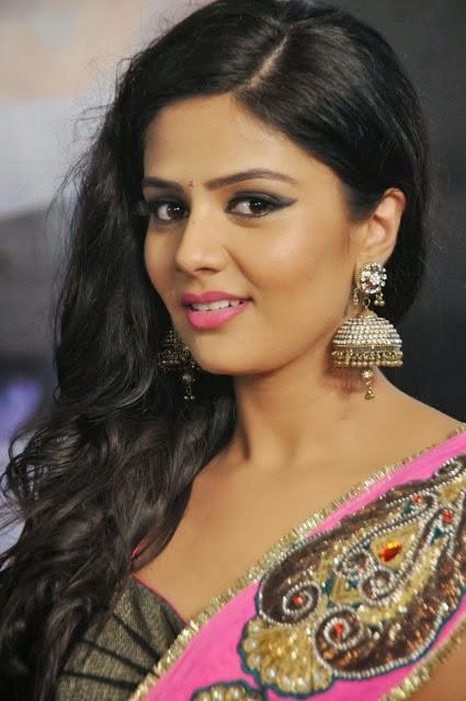 actress sri mukhi photos in pink saree at prema ishq kadhal movie