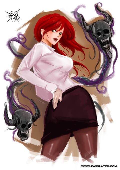 secretary witch digital illustration