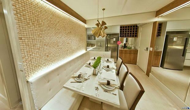 Banco Baú Para Sala De Jantar ~  de fibra na parede com iluminação de Led e espelho na frente