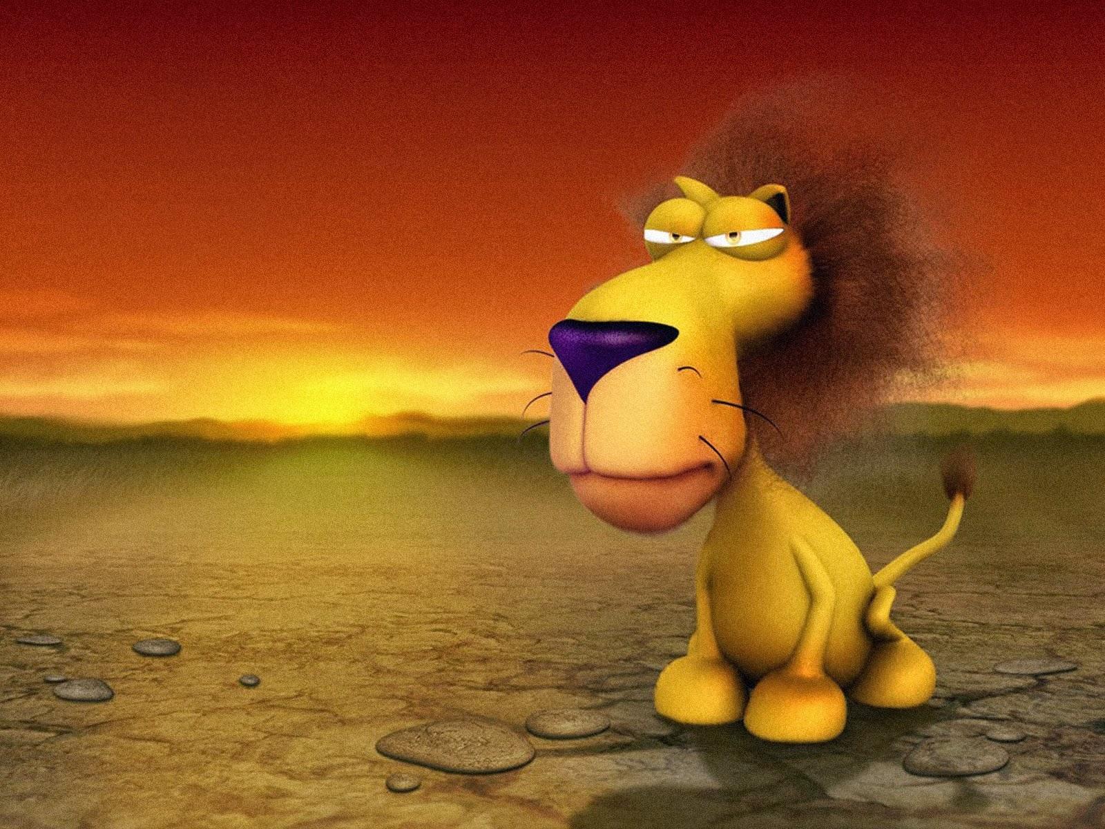 gambar kartun singa lucu