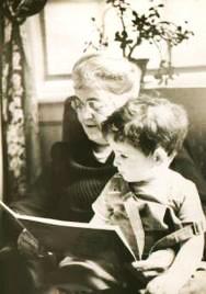 Grandma telling story to his grandson