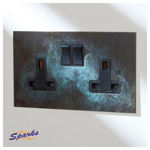 13A Double Socket in Verdigris