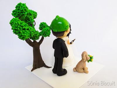 noivinhos, biscuit, topo de bolo, noivos, árvore, golden