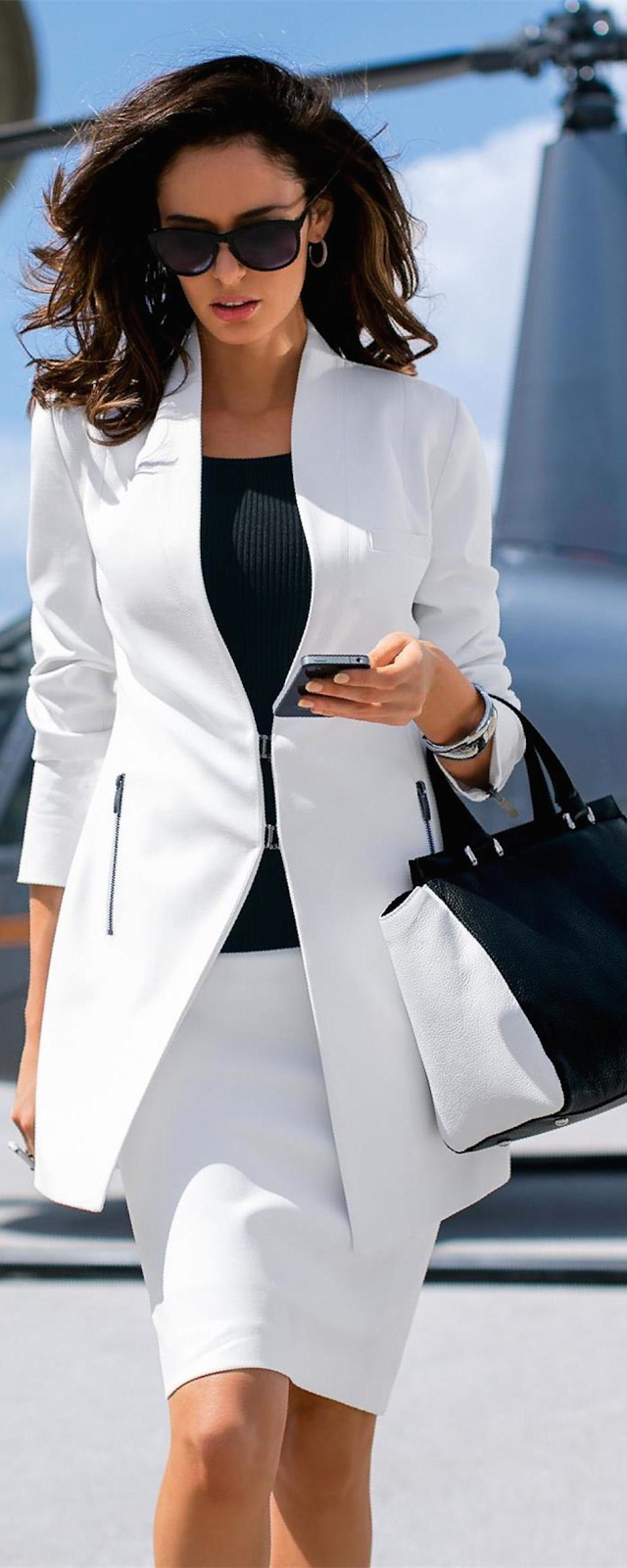 MADELEINE LONG BLAZER IN WHITE