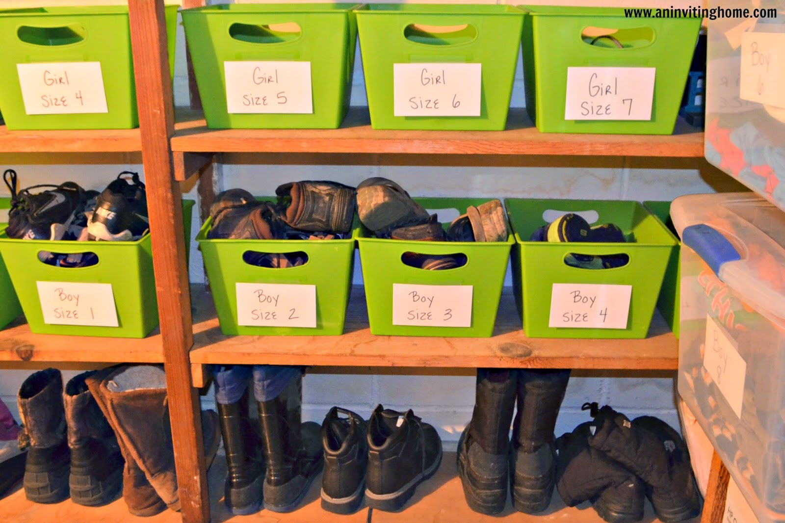 storing kids shoes