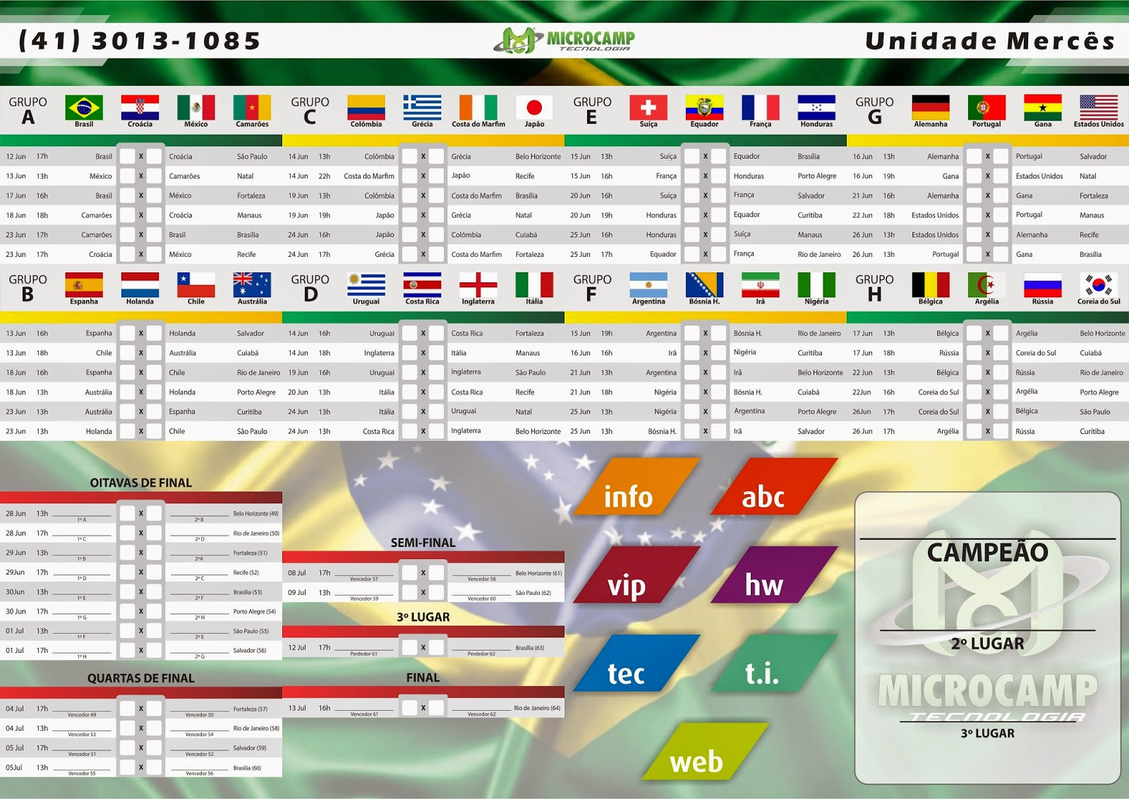 tabela copa do mundo 2014 microcamp