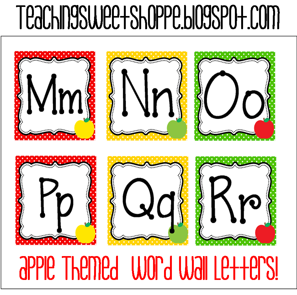 Word Wall Letters Pleasing The Teaching Sweet Shoppe Apple Themes Word Wall Cards 2018