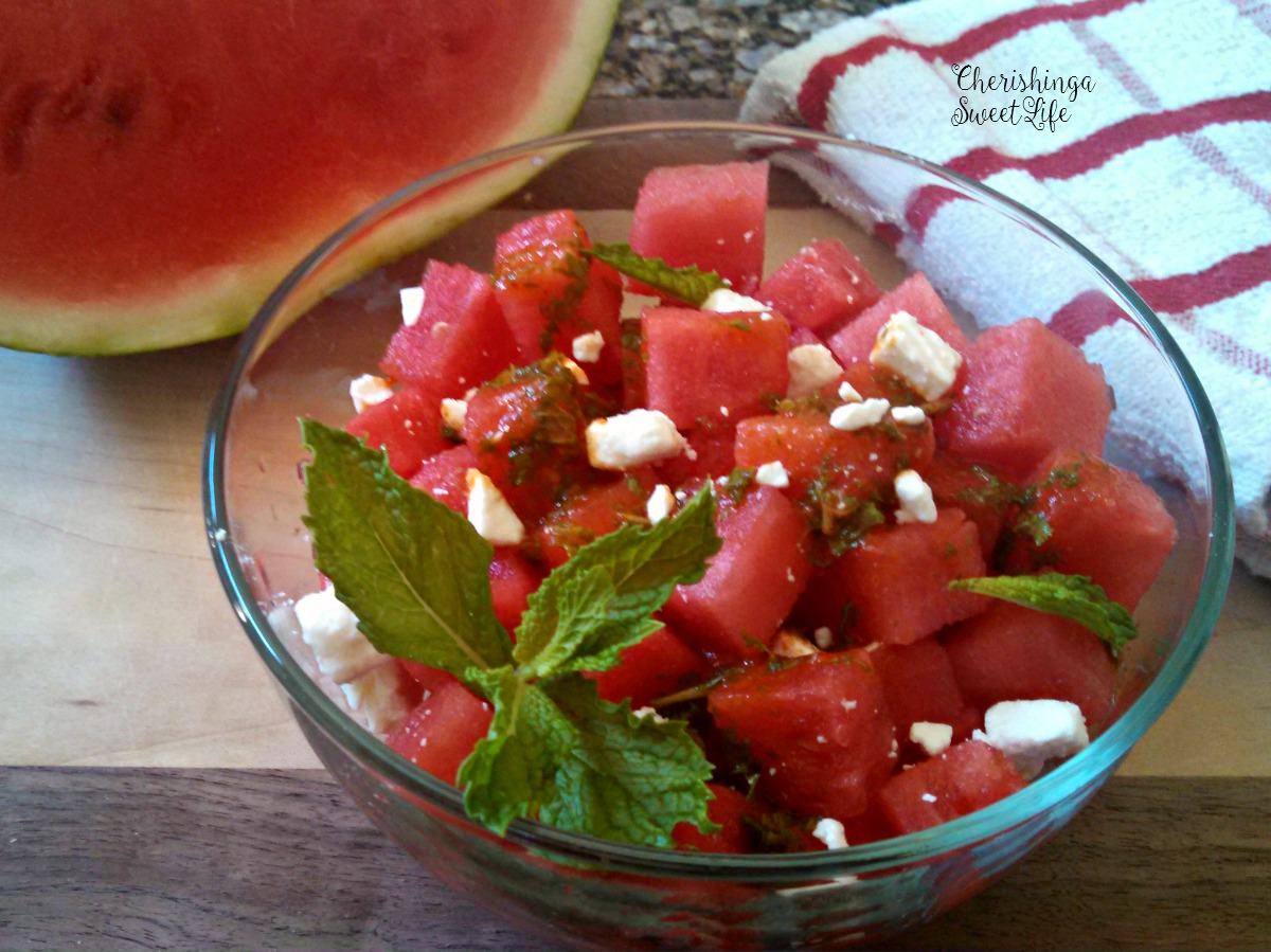 cherishing a sweet life watermelon salad with feta and mint. Black Bedroom Furniture Sets. Home Design Ideas