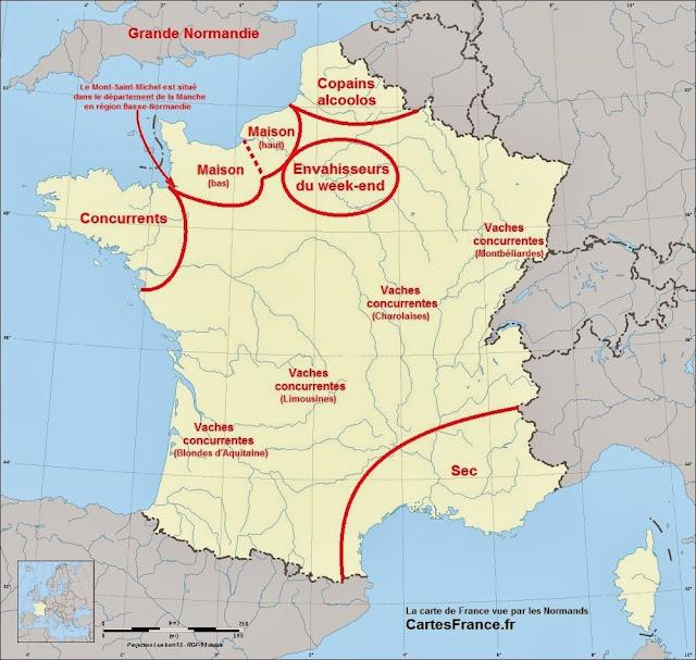 Carte de France vue par les Normands