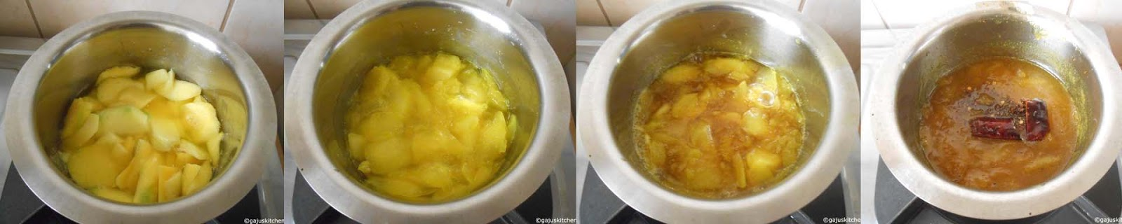 cooking mango slices and preparing pachadi