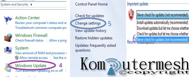 Cara Mematikan (disable) Windows Update Pada Windows 7