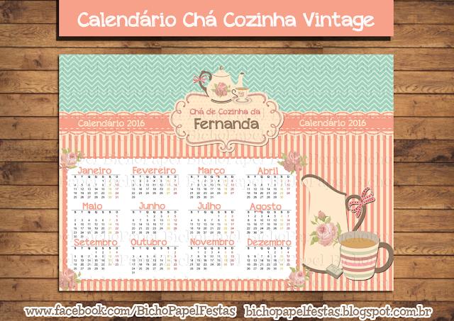 Calendário Chá Cozinha Vintage