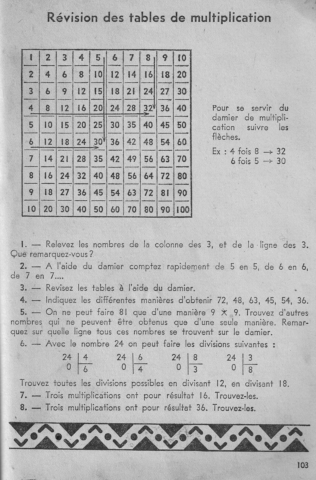 Cole r f rences vassort calcul vivant ce1 le ons for Table de multiplication de 1 a 9