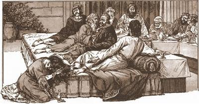 María de Betania unge los pies a Cristo. Lacasamundo.com