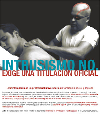 """""""El intrusismo no exige una titulación especial"""" Cartel contra el intrusismo en fisioterapia"""